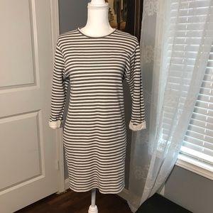 Topshop Stripped Sweater Dress Grey/Off-white SZ6